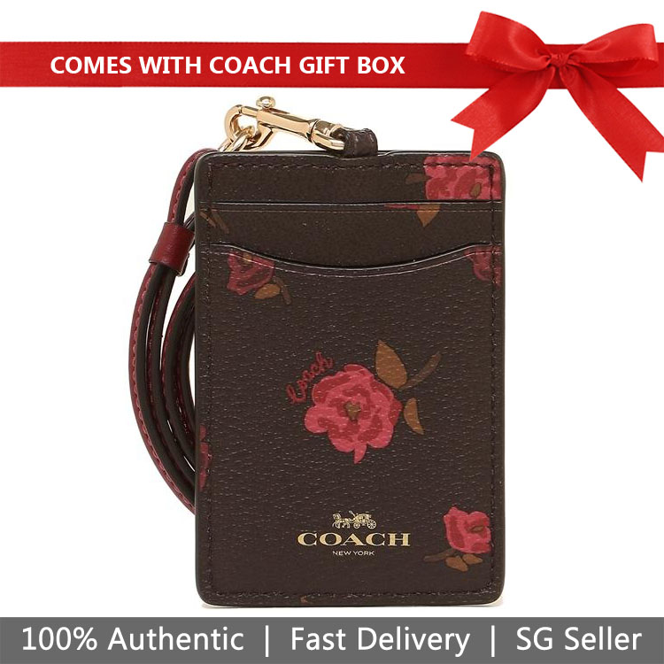 Coach Lanyard In Gift Box Id Lanyard With Tossed Peony Print Oxblood Dark Red # F67527