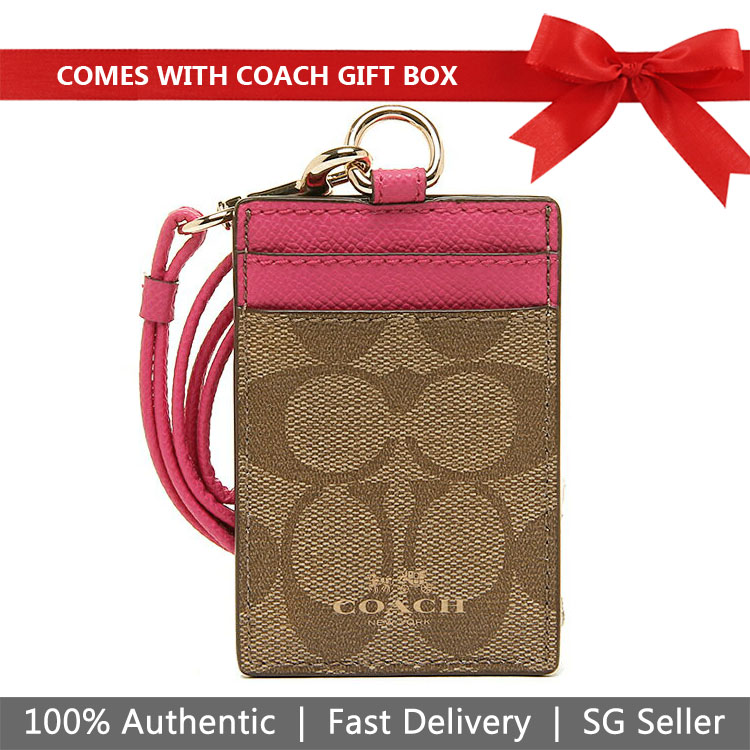 Coach Lanyard In Gift Box Lanyard Id Case In Signature Canvas Khaki / Pink Ruby # F63274