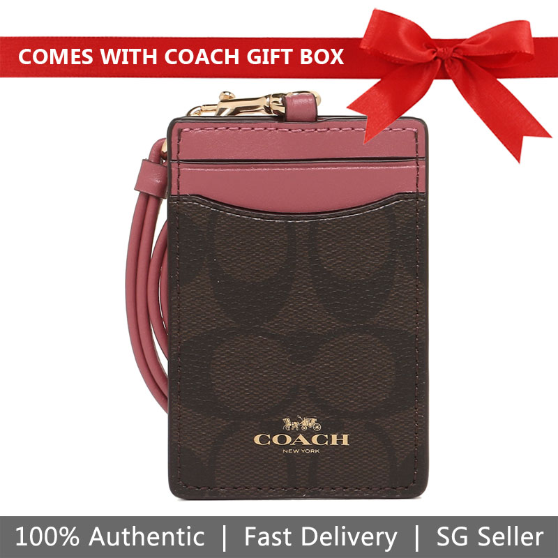 Coach Lanyard In Gift Box Signature Lanyard Id Case Brown / Rouge Pink / Gold # F63274