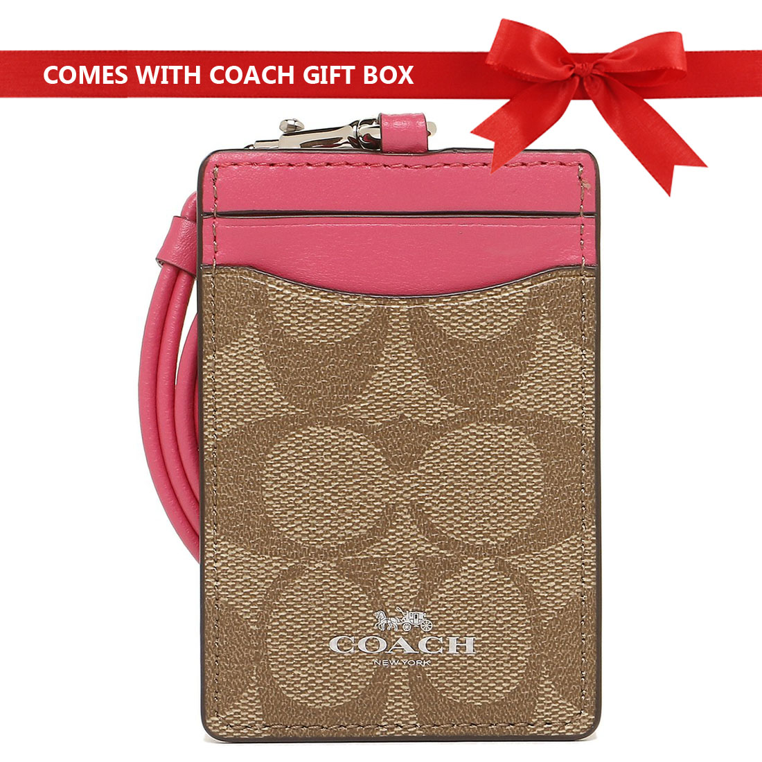 Coach Lanyard In Signature Canvas With Gift Box Khaki / Magenta Pink / Silver # F63274