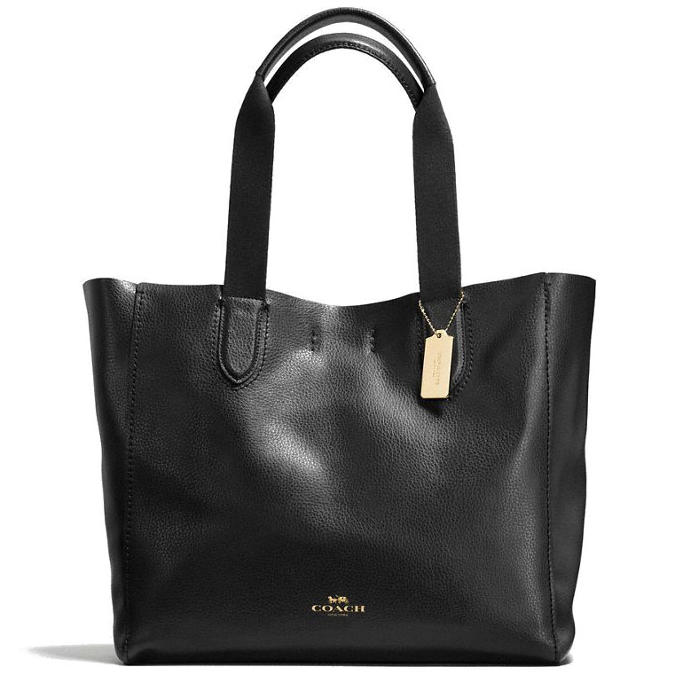 Coach Large Derby Tote In Pebble Leather Gold / Black # F59818