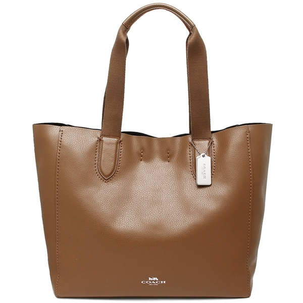 Coach Large Derby Tote In Pebble Leather Silver / Saddle Brown 2 # F59818