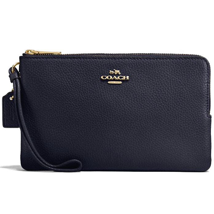 Coach Large Double Zip Wallet In Polished Pebble Leather Large Wristlet Gold / Midnight Navy Dark Blue # F87587