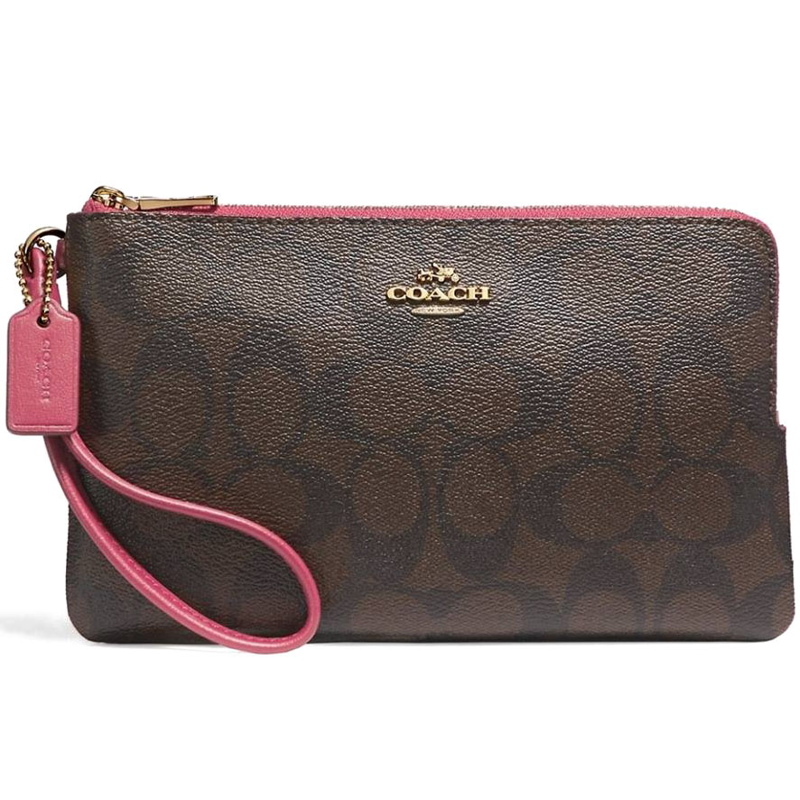 Coach Large Double Zip Wallet In Signature Coated Canvas Large Wristlet Light Gold / Brown Rouge # F16109