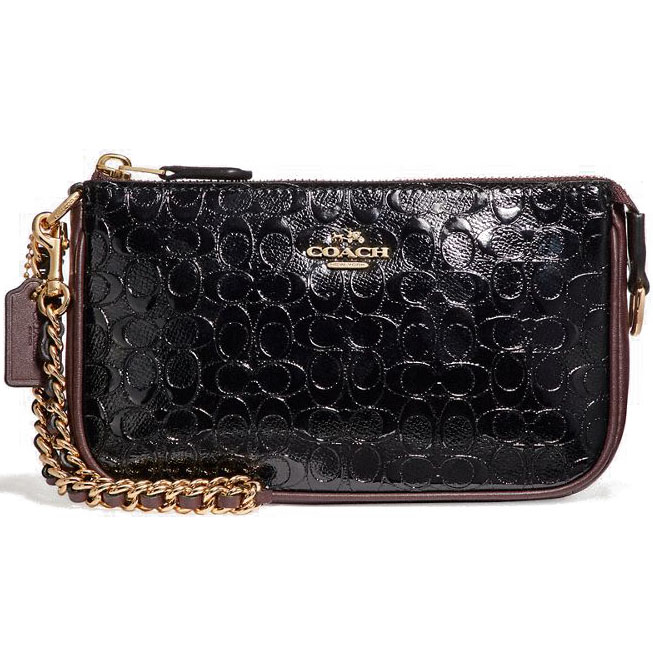 Coach Large Wristlet 19 In Signature Debossed Patent Leather Black Oxblood # F11940