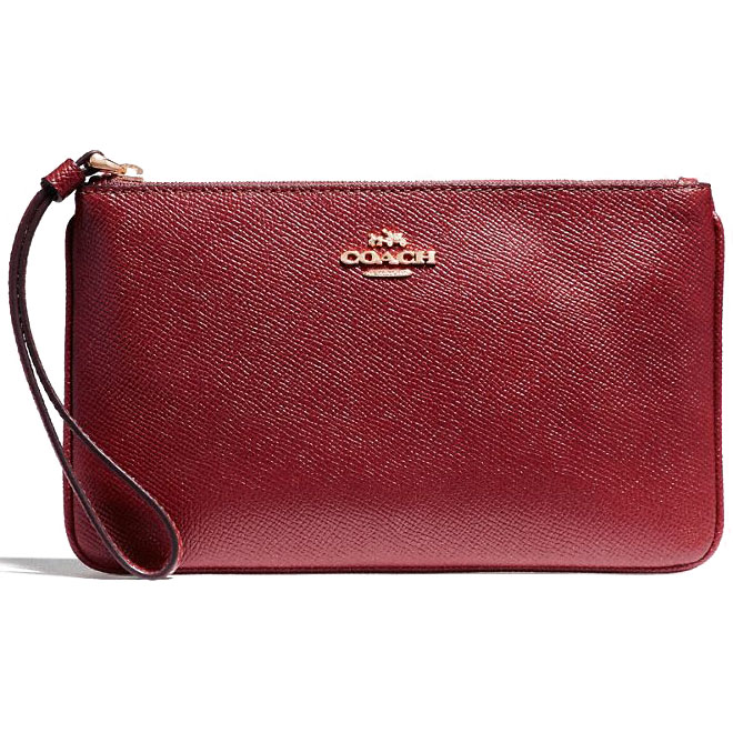 Coach Large Wristlet In Crossgrain Leather Crimson Red # F57465