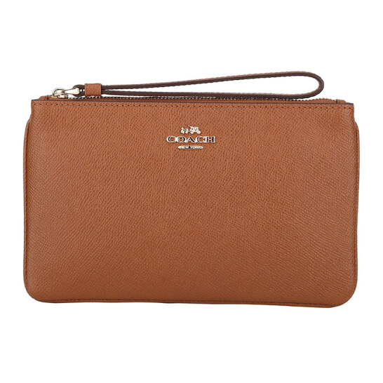 Coach Large Wristlet In Crossgrain Leather Gold / Saddle Brown Brown Brown # F57465