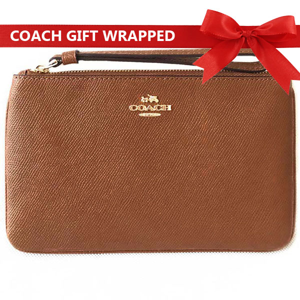 Coach Large Wristlet In Crossgrain Leather Saddle Brown 2 / Gold # F57465