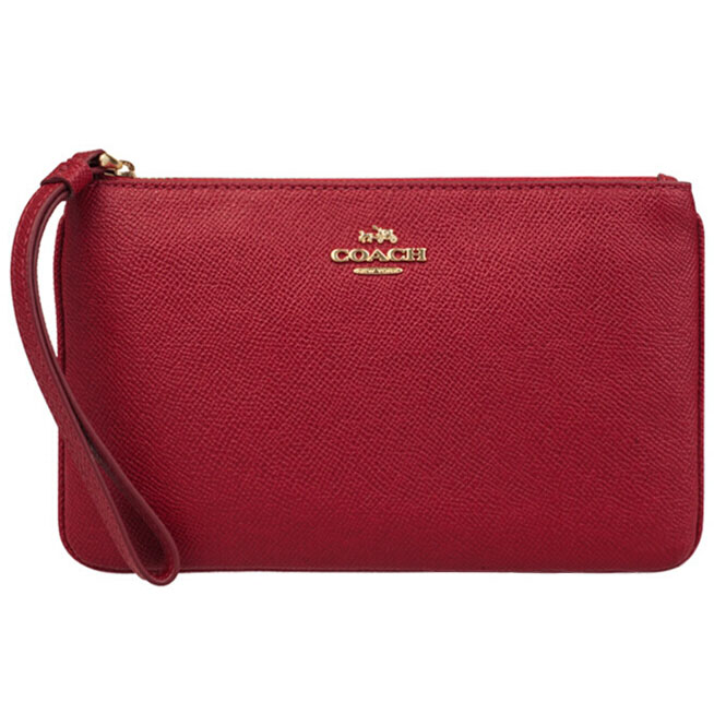 Coach Large Wristlet In Crossgrain Leather True Red # F57465