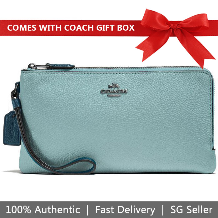 Coach Large Wristlet In Gift Box Large Double Zip Wallet In Colorblock Cloud Mineral Blue # 54051