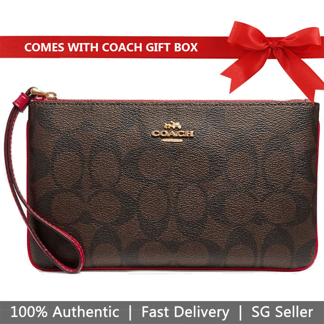 Coach Large Wristlet In Gift Box Large Wristlet In Crossgrain Leather Brown / Ruby Red # F58695