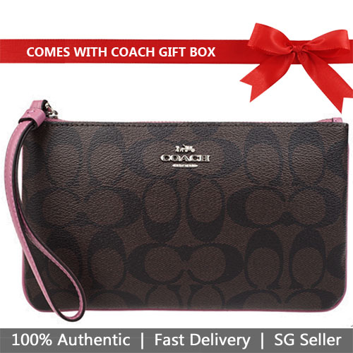 Coach Large Wristlet In Gift Box Large Wristlet In Signature Canvas Brown / Azalea Purple / Silver # F58695