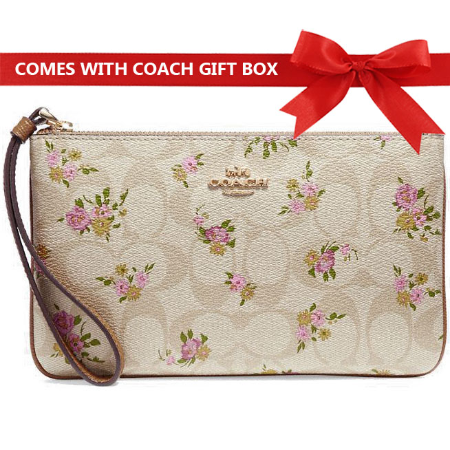 Coach Large Wristlet In Gift Box Large Wristlet In Signature Canvas With Daisy Bundle Print Light Khaki / Multi / Gold # F31784