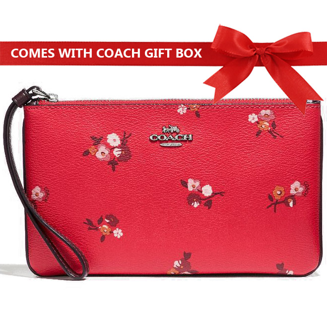 0e80e70f093b Coach Large Wristlet In Gift Box Large Wristlet With Baby Bouquet Print Bright  Red Multi /