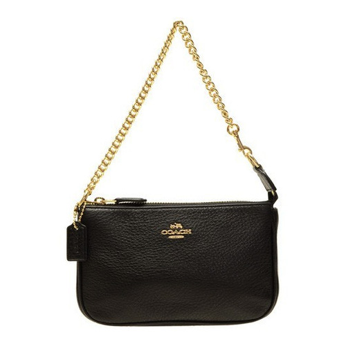 Coach Large Wristlet In Pebble Leather Black # F53340