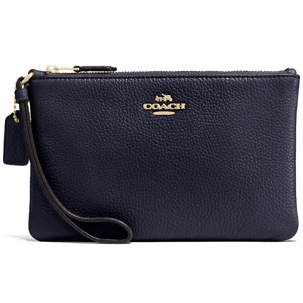Coach Large Wristlet In Polished Pebble Leather Gold / Navy Blue # 16111B