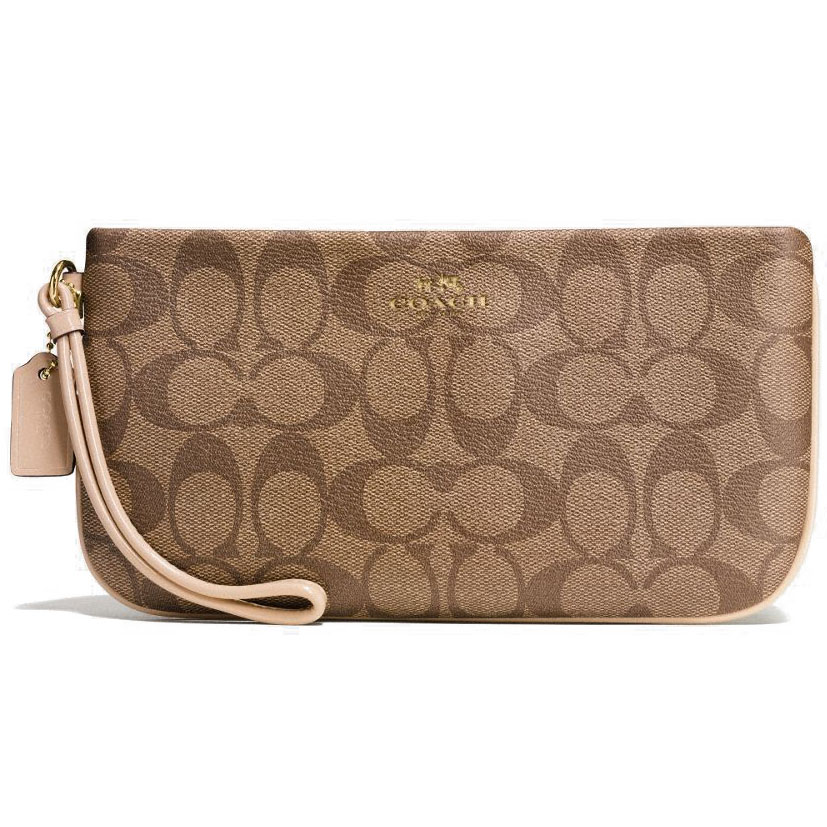 Coach Large Wristlet In Signature Gold / Khaki Platinum # F65748