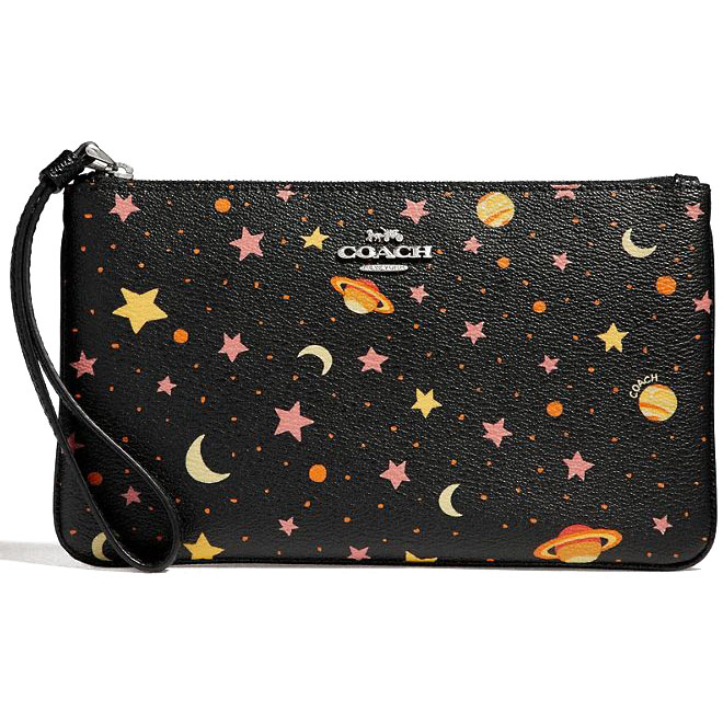 Coach Large Wristlet With Constellation Print Black Multi / Silver # F30058