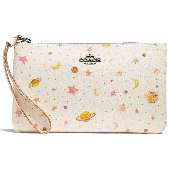 Coach Large Wristlet With Constellation Print Chalk Multi / Black Antique Nickel # F30058