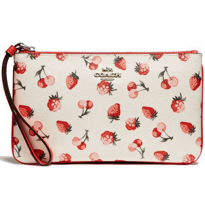 Coach Large Wristlet With Fruit Print Silver / Chalk Multi # F23675