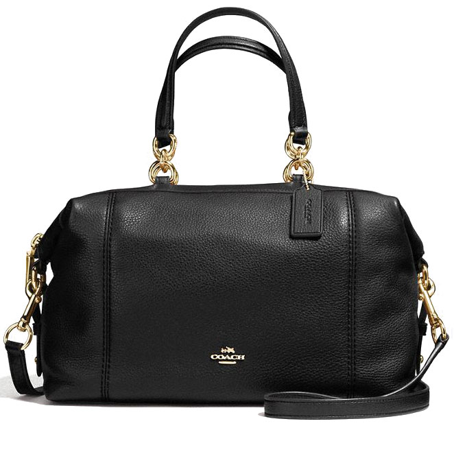 Coach Lenox Satchel In Pebble Leather Gold / Black # F59325
