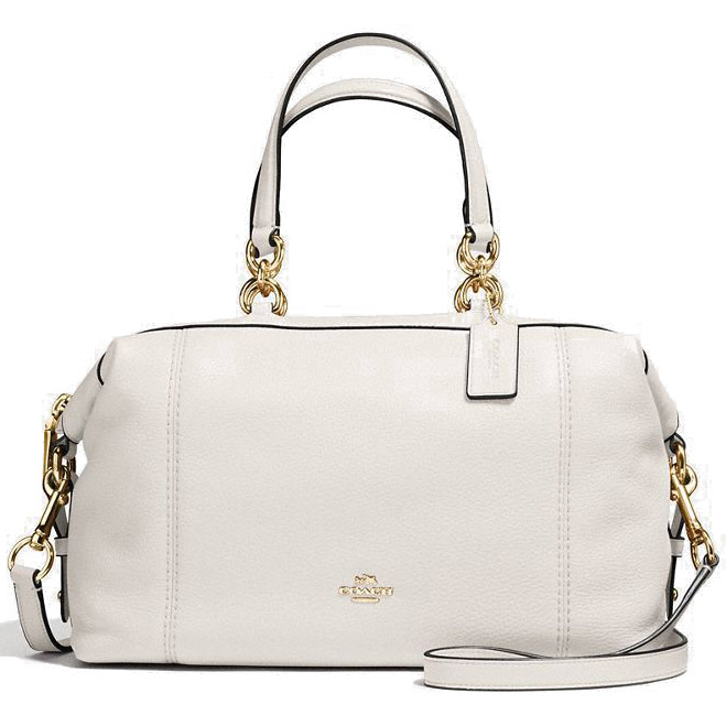 Coach Lenox Satchel In Pebble Leather Gold / Chalk # F59325