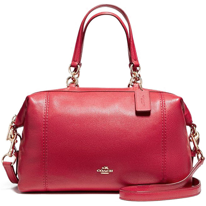 Coach Lenox Satchel In Pebble Leather Light Gold / True Red # F59325