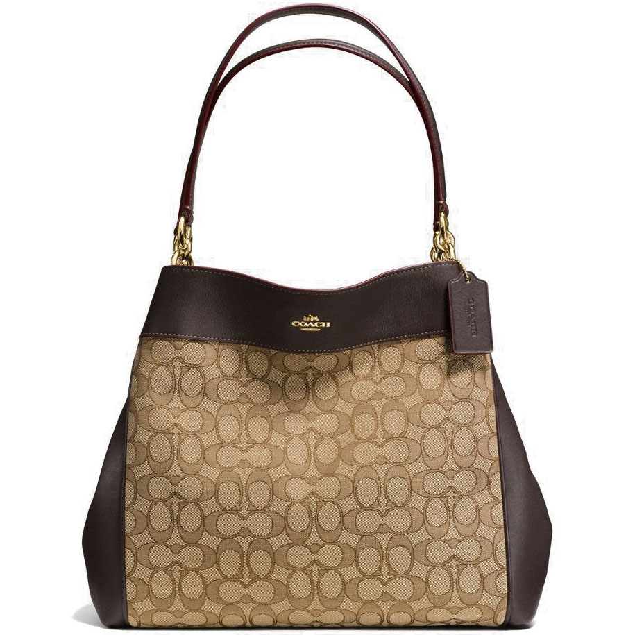 Coach Lexy Shoulder Bag In Outline Signature Khaki Brown # F57612