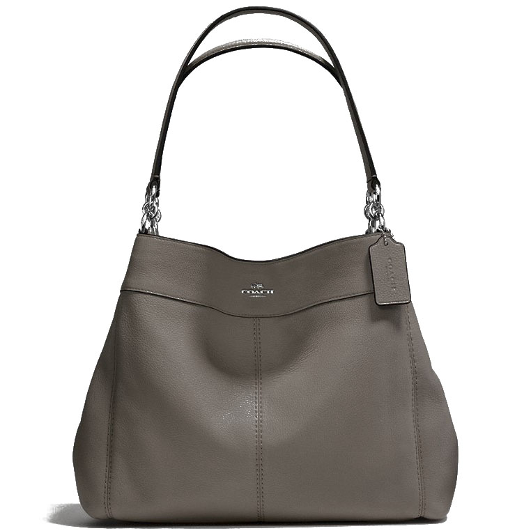 Coach Lexy Shoulder Bag In Pebble Leather Silver / Fog # F57545