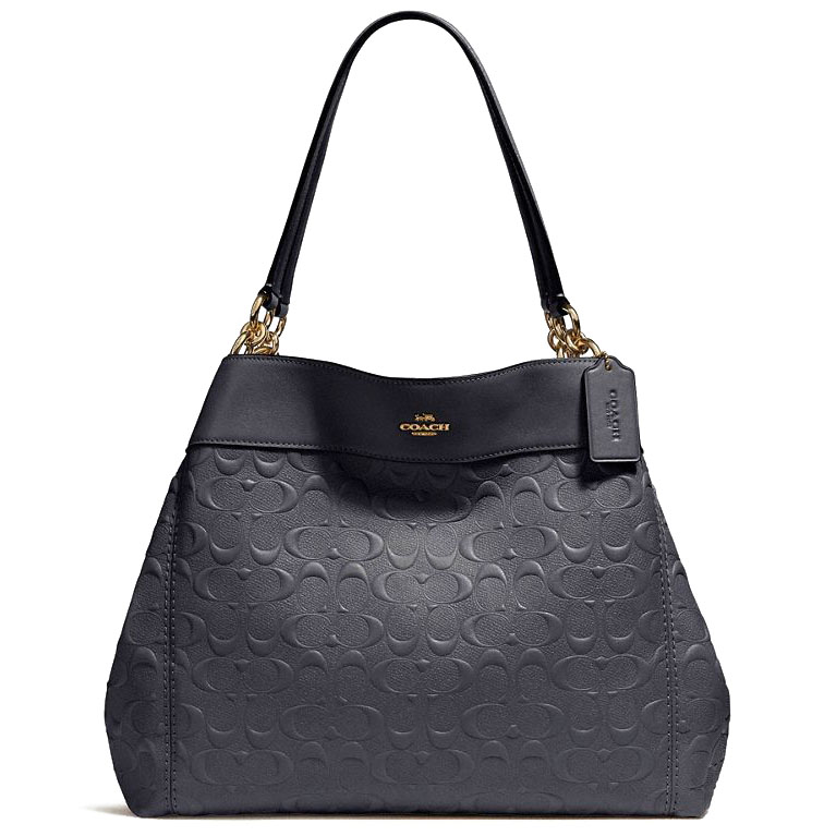 Coach Lexy Shoulder Bag In Signature Leather Midnight Blue / Gold # F25954
