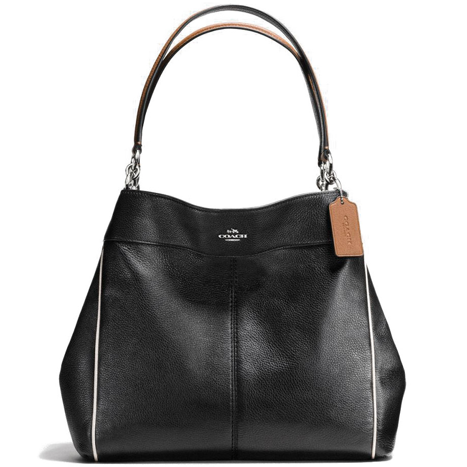 Coach Lexy Shoulder Bag With Contrast Trim In Pebble Leather Silver / Black Multi # F58044
