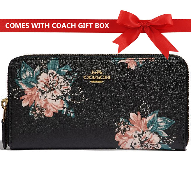 Coach Long Wallet Accordion Zip Wallet With Tossed Bouquet Print Black # F32435