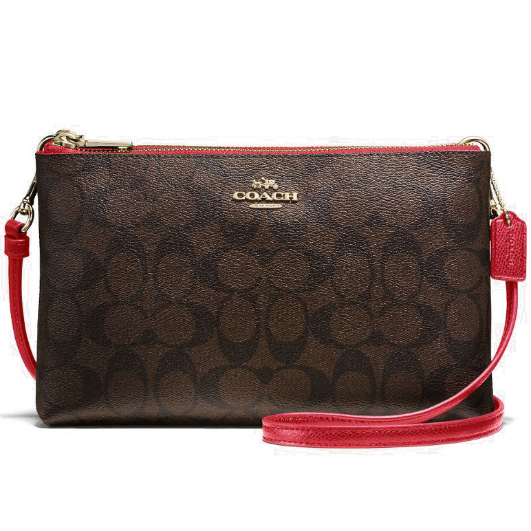 Coach Lyla Crossbody In Signature Gold / Brown / True Red # F55900