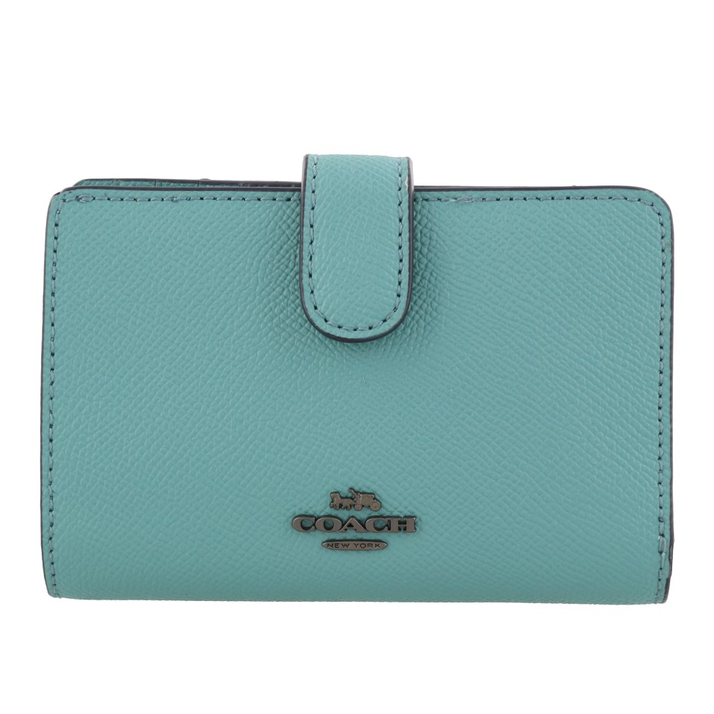 Coach Medium Corner Zip Wallet Blue Green # F11484