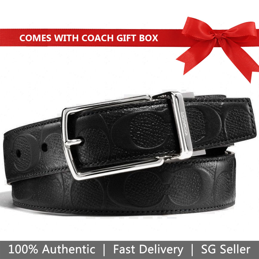 Coach Men Belt In Gift Box Modern Harness Cut-To-Size Reversible Signature Leather Belt Black # F55158