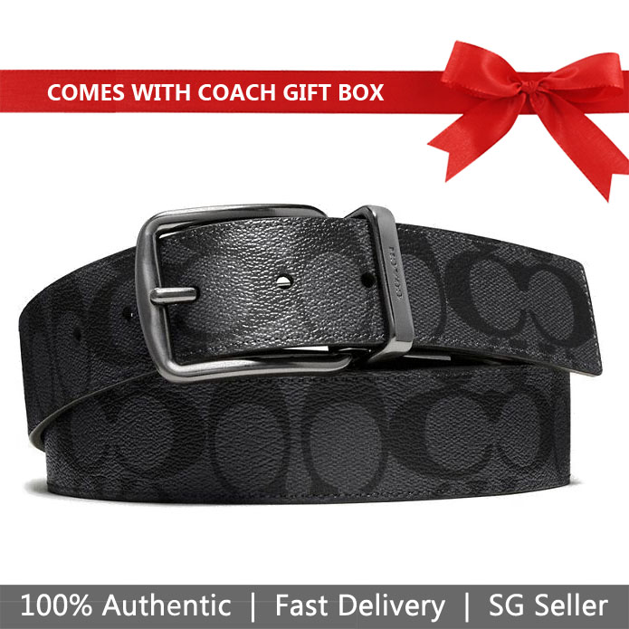 Coach Men Belt In Gift Box Wide Harness Cut-To-Size Reversible Signature Coated Canvas Belt Charcoal / Black # F64839