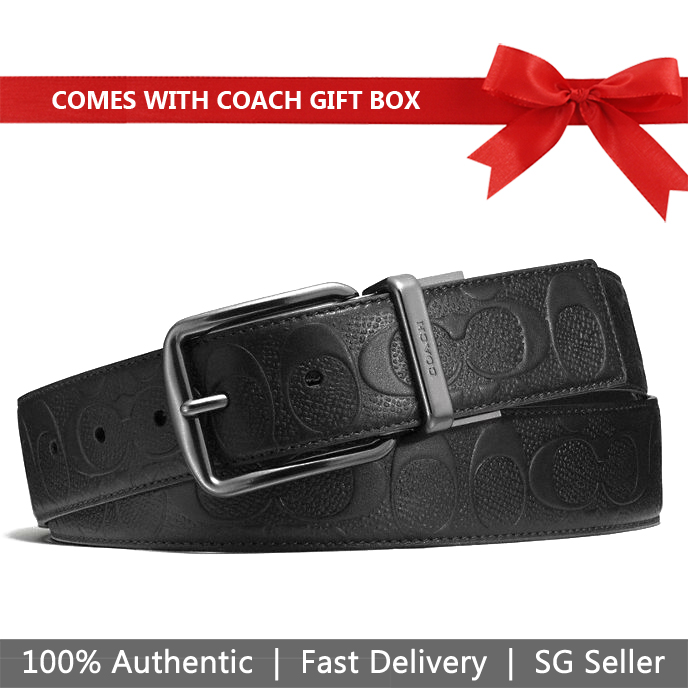 Coach Men Belt In Gift Box Wide Harness Cut-To-Size Reversible Signature Leather Belt Black # F55157