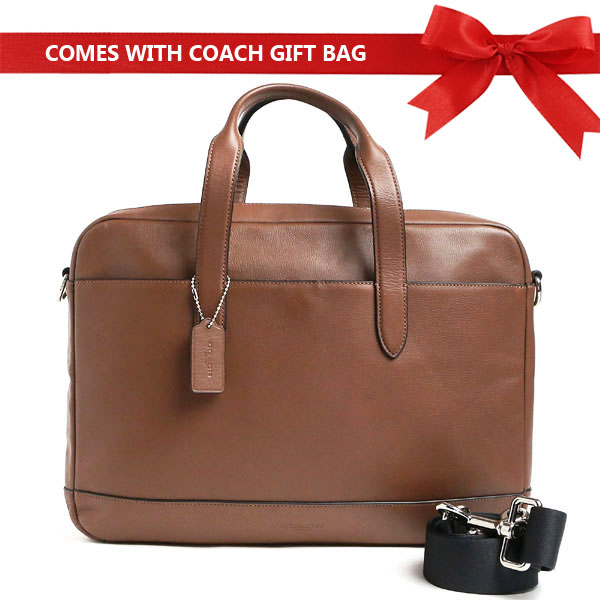 Coach Men Briefcase Hamilton Bag Saddle Brown # F22529