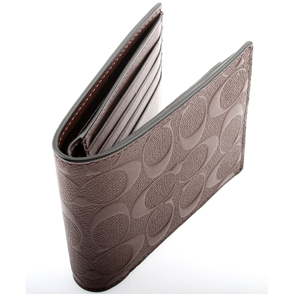 541e3d851479 new zealand coach mens heritage khaki brown leather coin wallet 74516 e3d46  ce575  italy coach men compact id wallet in signature crossgrain leather ...
