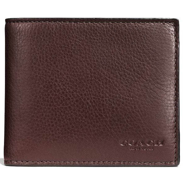 Coach Men Compact Id Wallet In Sport Calf Leather Mahogany # F74991