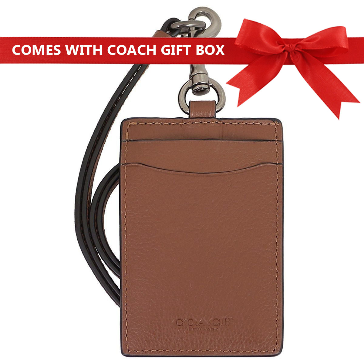 Coach Men Lanyard In Gift Box Id Lanyard In Sport Calf Leather Saddle Brown / Antique Nickel # F31657