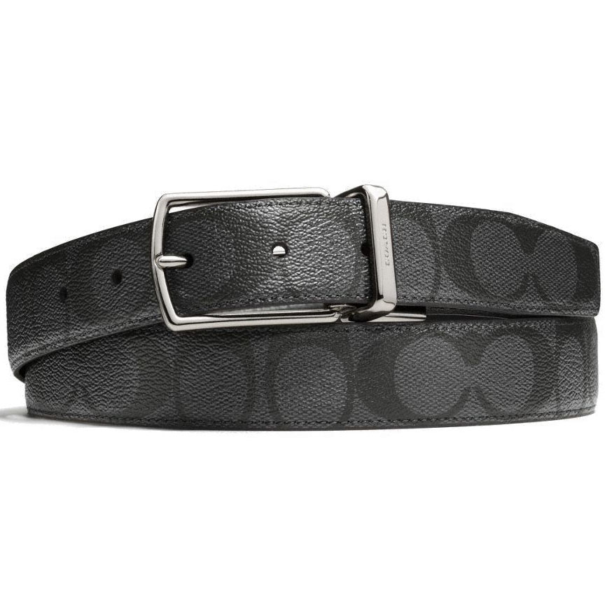 Coach Men Modern Harness Cut-To-Size Reversible Signature Coated Canvas Belt Charcoal / Black # F64825