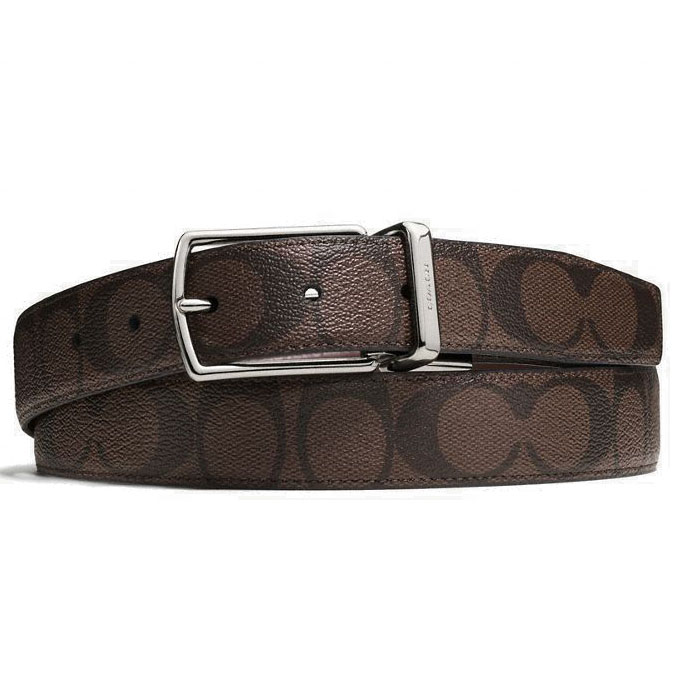 Coach Men Modern Harness Cut-To-Size Reversible Signature Coated Canvas Belt Mahogany / Brown # F64825