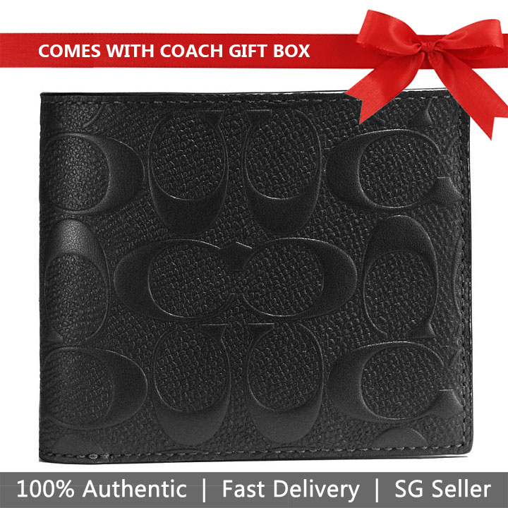 Coach Men Wallet In Gift Box Compact Id Wallet In Signature Crossgrain Leather Black # F75371