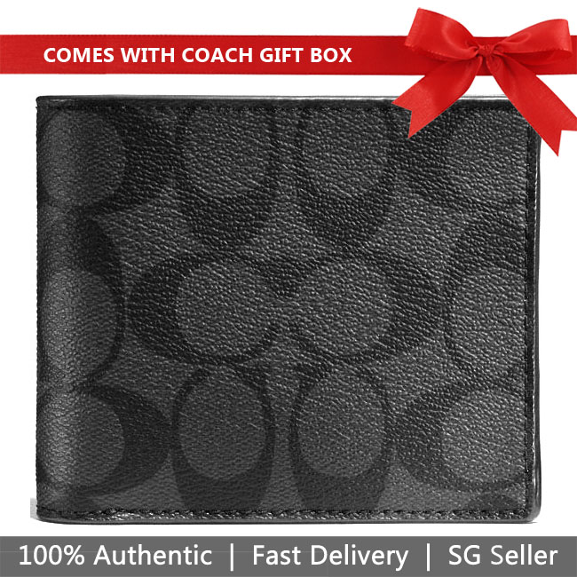 Coach Men Wallet In Gift Box Compact Id Wallet In Signature Charcoal / Black # F74993