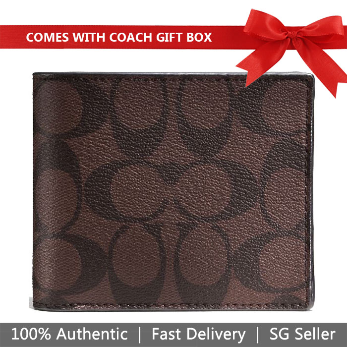 Coach Men Wallet In Gift Box Compact Id Wallet In Signature Mahogany Brown # F74993