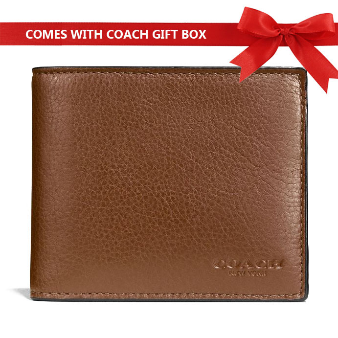 Coach Men Wallet In Gift Box Compact Id Wallet In Sport Calf Leather Saddle Brown # F74991