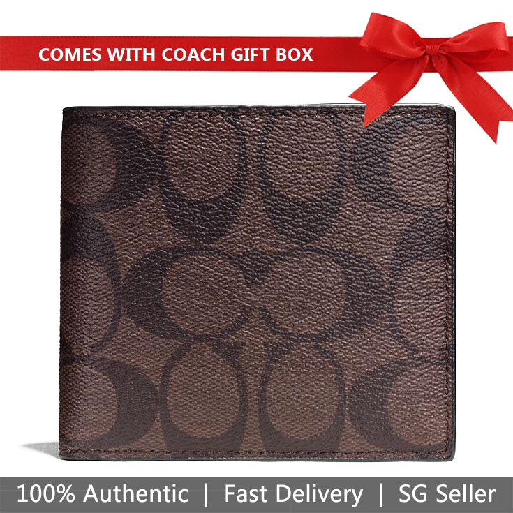 Coach Men Wallet In Gift Box Double Billfold Wallet In Signature Mahogany / Brown # F75083