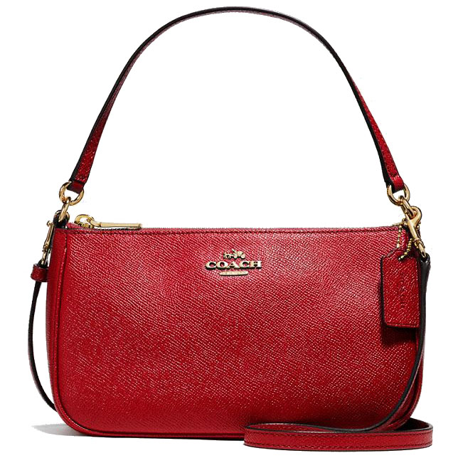 Coach Messico Top Handle Pouch Crossbody Bag Light Gold / True Red # F25591