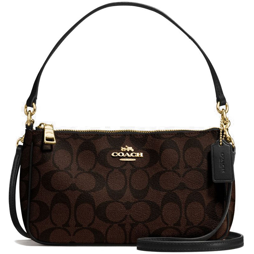 Coach Messico Top Handle Pouch In Signature Crossbody Bag Black Brown # F58321